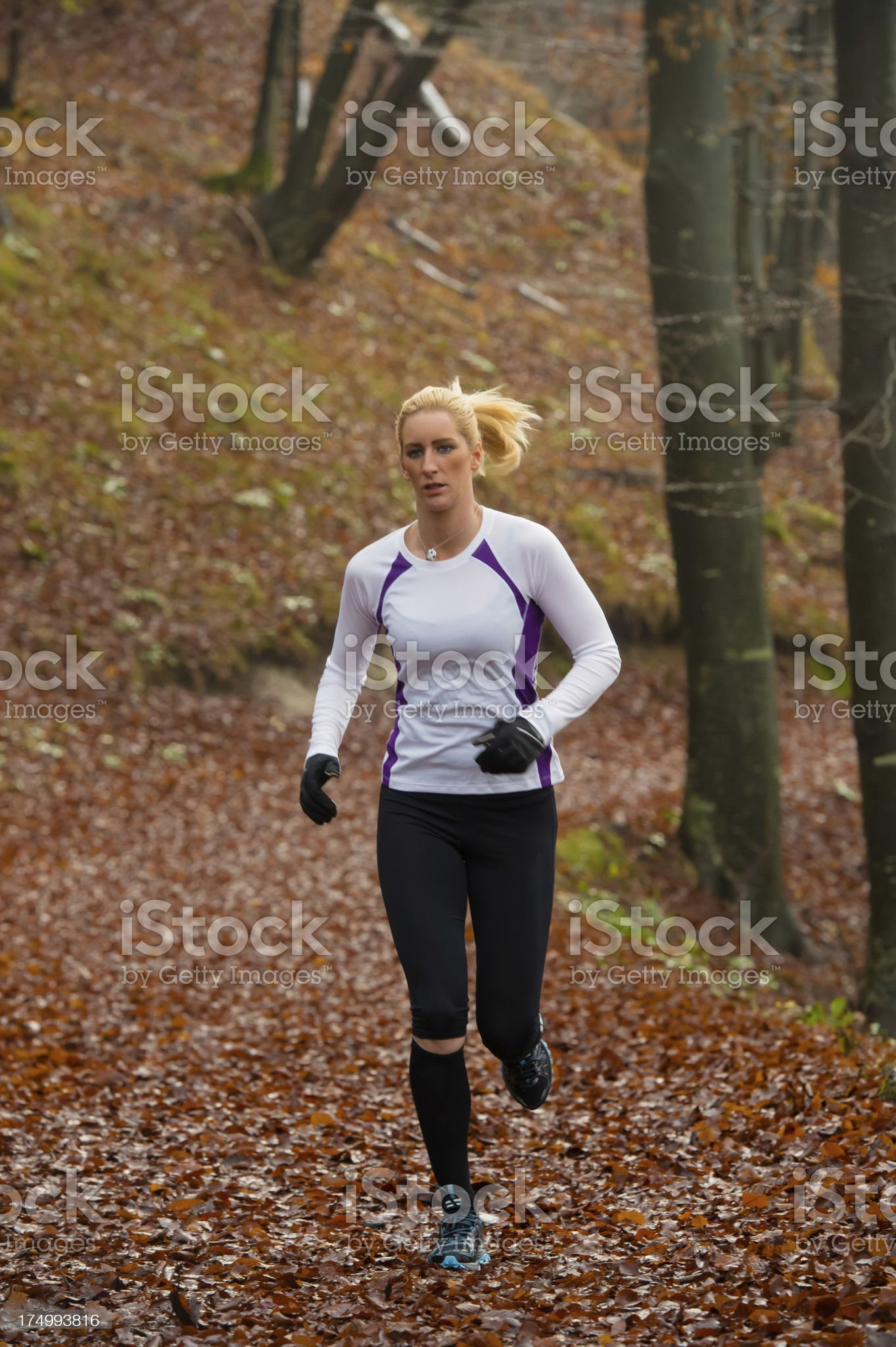 Young women jogging on the forest path royalty-free stock photo