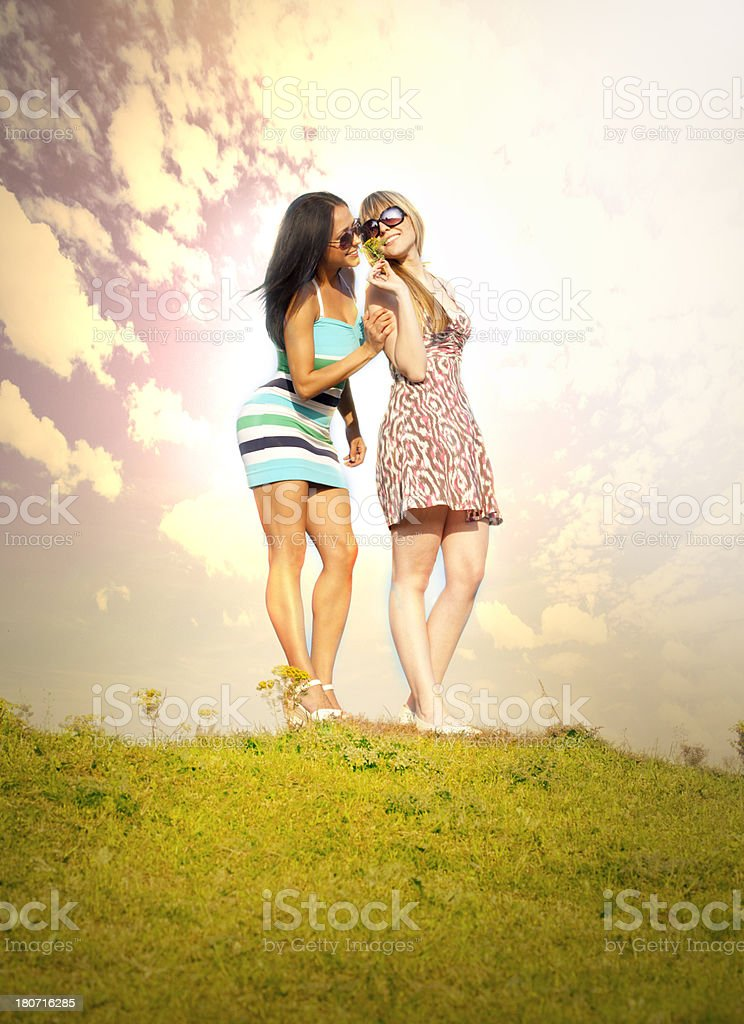 Young women on field in summer royalty-free stock photo
