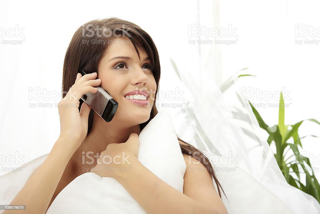 Young women on mobile royalty-free stock photo