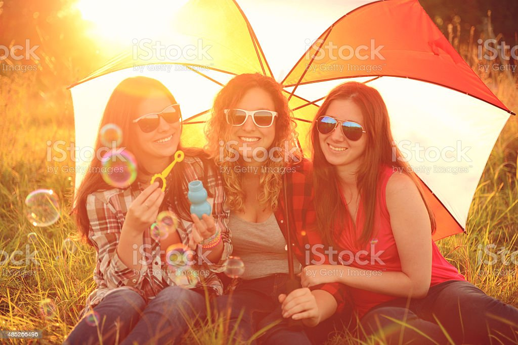 Young women outdoors. stock photo