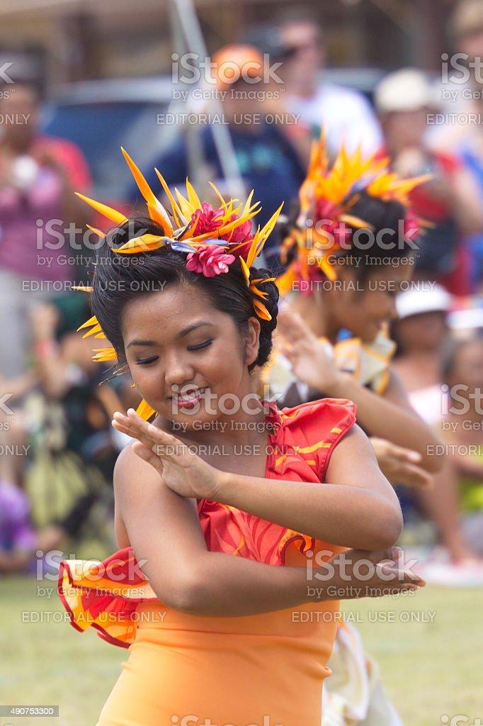Young women perform Tahitian dance at the Heiva I Kauai stock photo