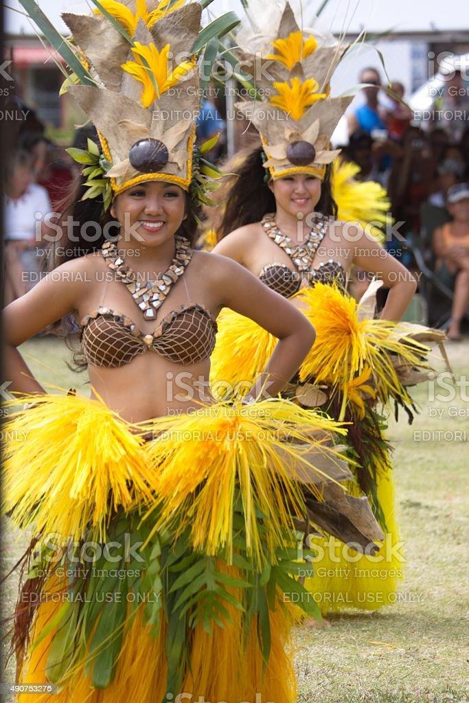Young women perform Tahitian dance stock photo