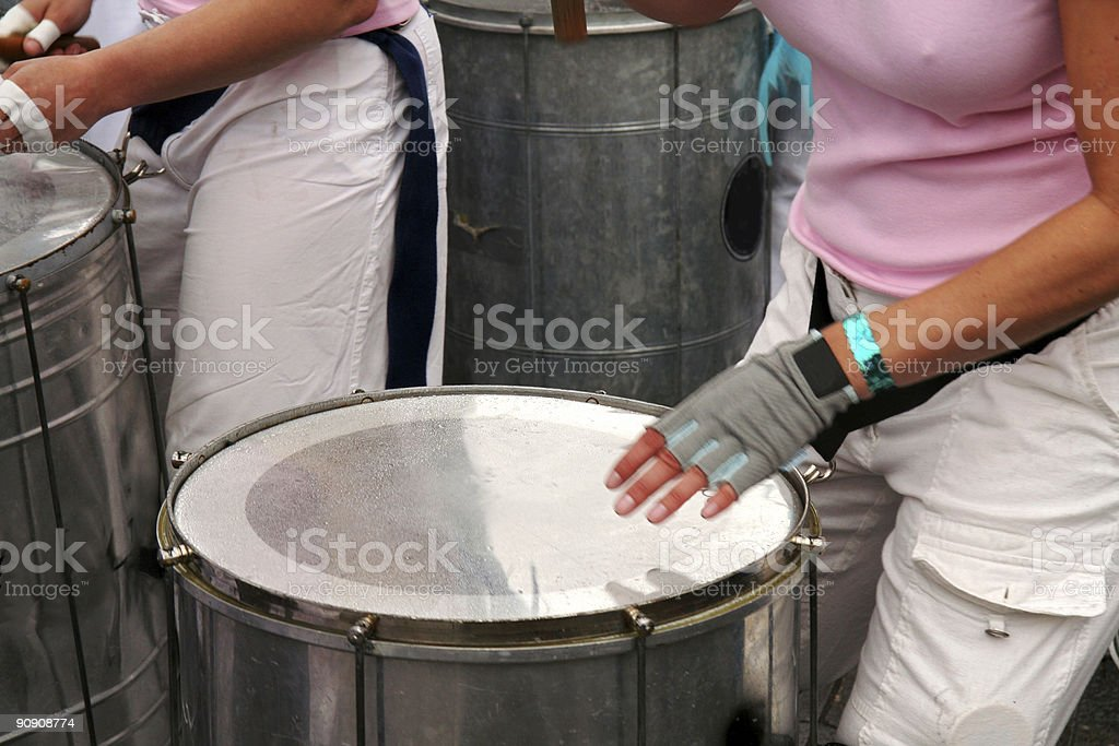 Young women playing steeldrums to carnival in Copenhagen, Denmark royalty-free stock photo