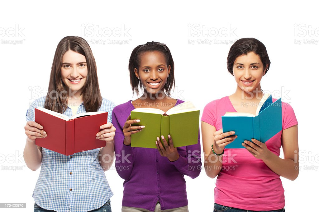 Young women reading royalty-free stock photo