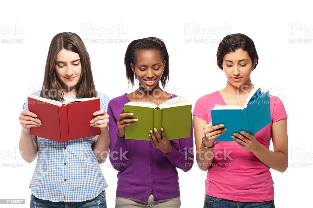Young women reading stock photo