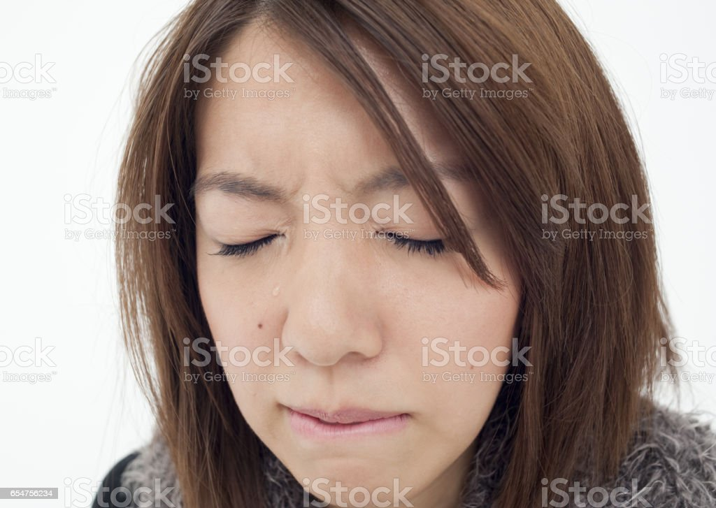 Young women shed tears stock photo