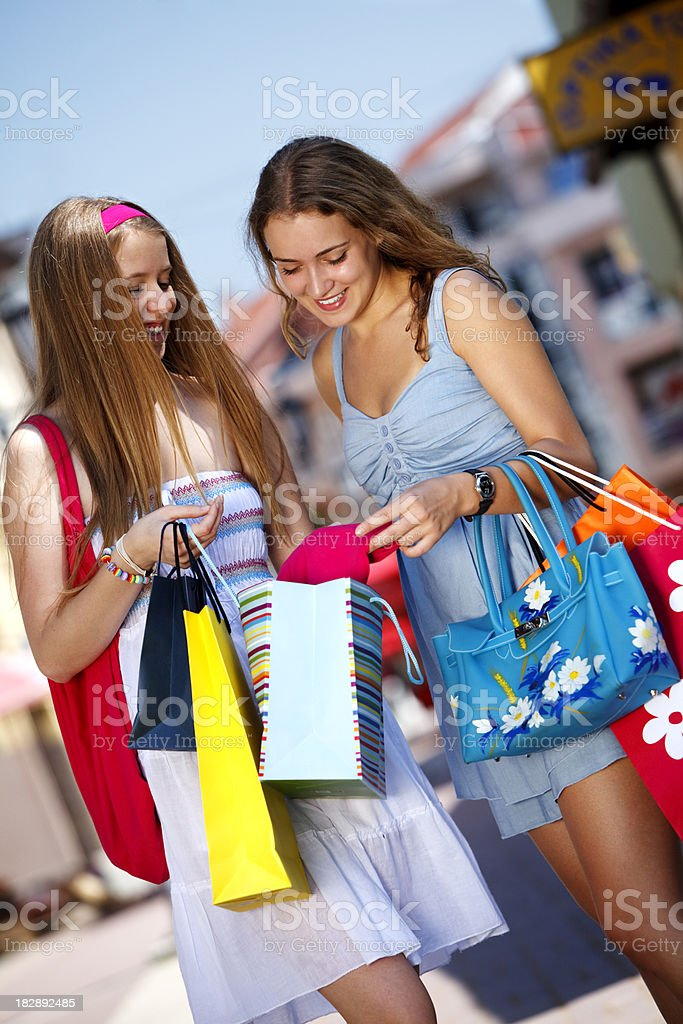 Young women shopping royalty-free stock photo