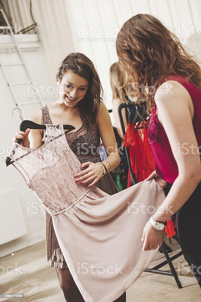 Young women shopping stock photo