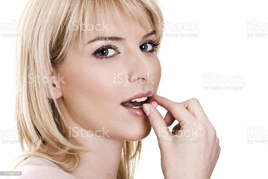 Young women take tablet royalty-free stock photo