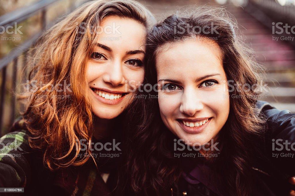 Young women taking a selfie stock photo