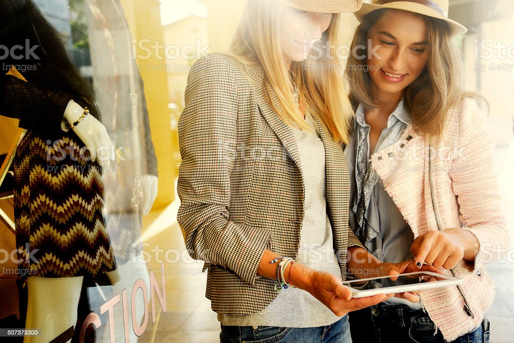 Young Women Texting stock photo