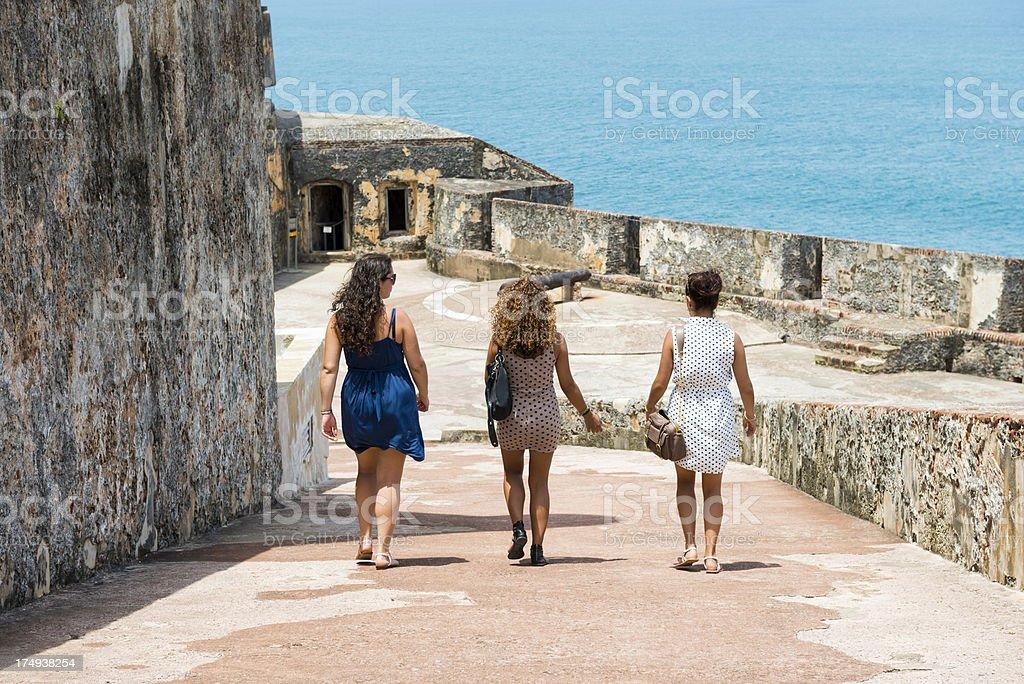 Young women visiting Puerto Rico stock photo