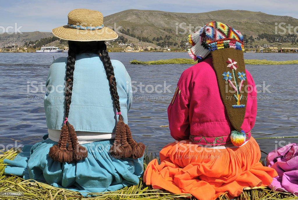Young women watching the lake stock photo