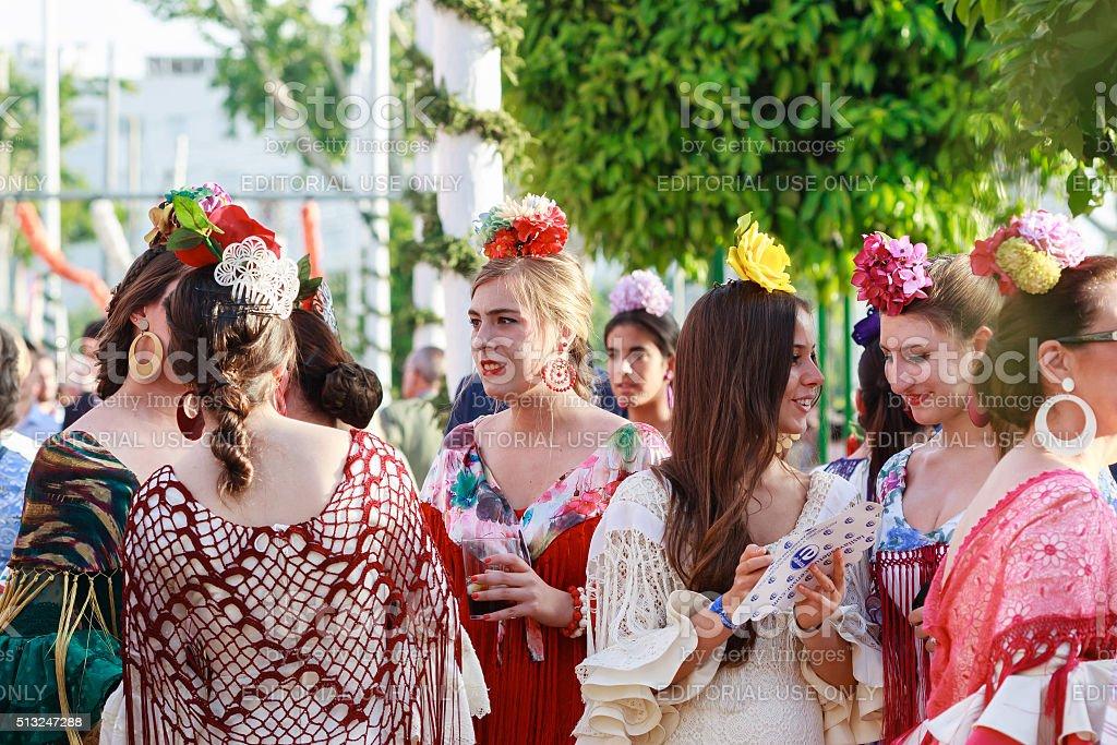 Young women wearing traditional flamenco dress stock photo