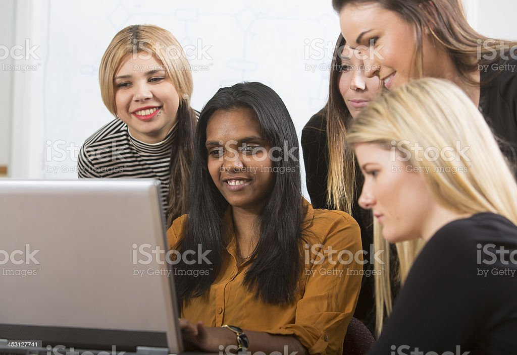 Young Women With a Computer royalty-free stock photo