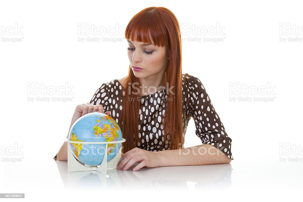 Young women with Globe royalty-free stock photo