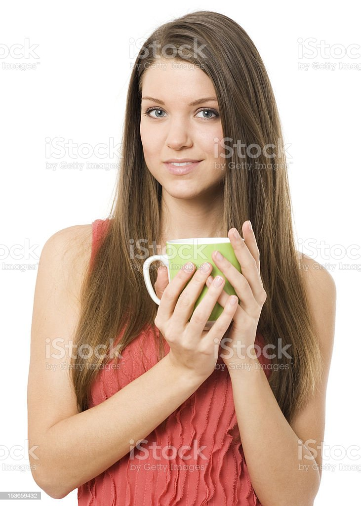 Young women with green cup royalty-free stock photo