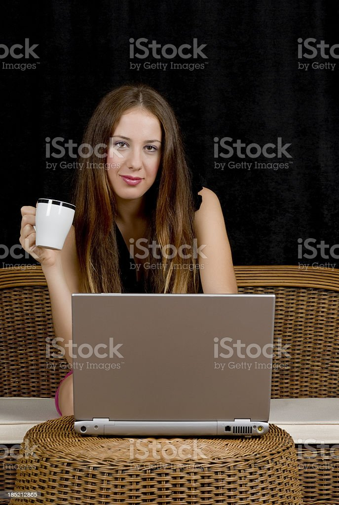 young women with laptop royalty-free stock photo