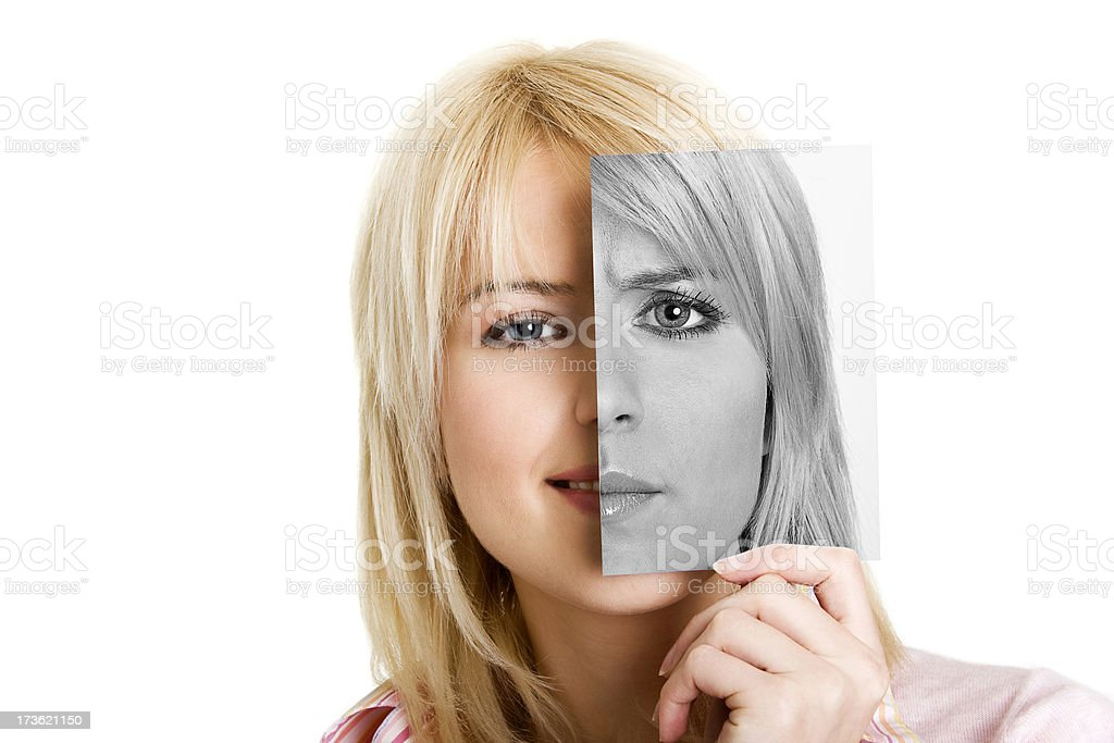 Young women with photo of her other side stock photo