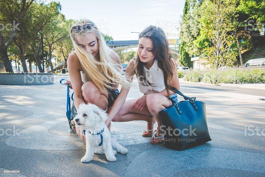 Young Women with White Small Dog in Portorose, Slovenia, Europe stock photo