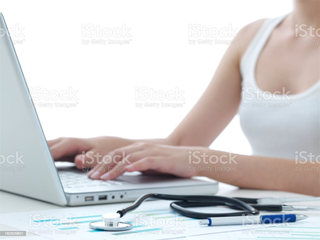 young women working in computer royalty-free stock photo