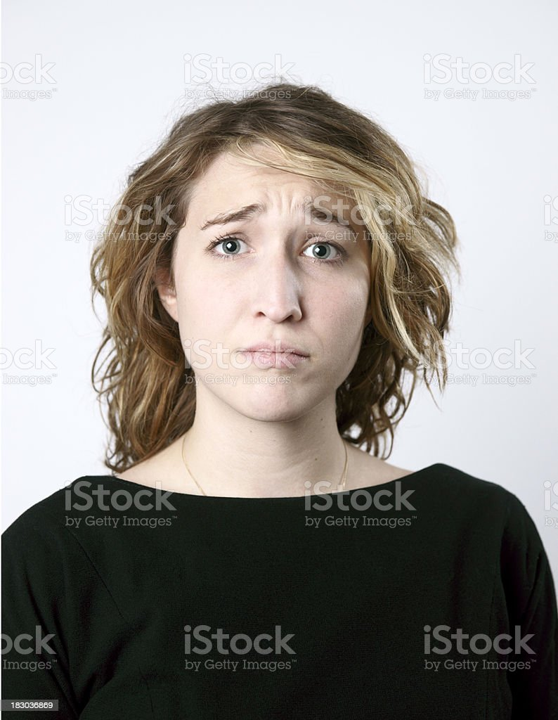 Young wom-man with a sad or upset expression. stock photo