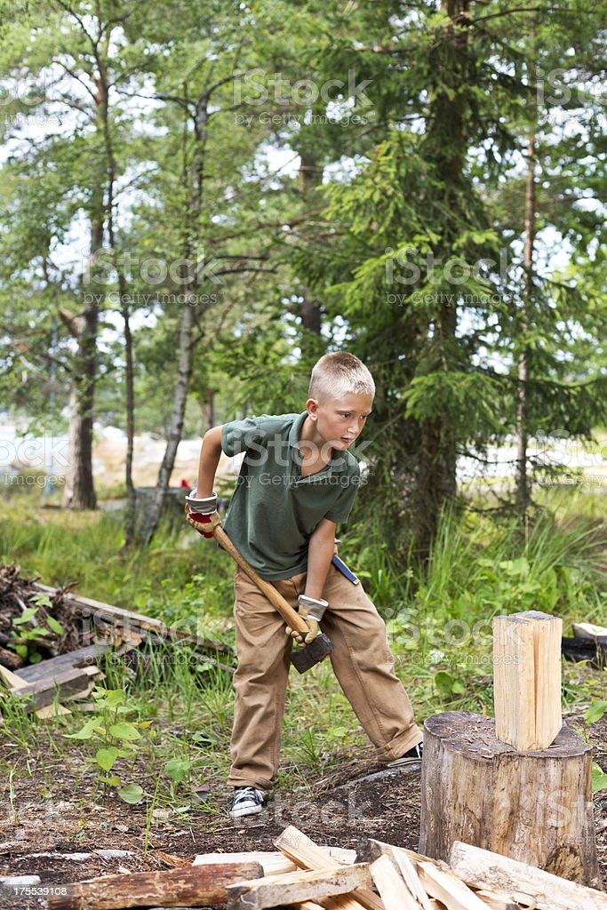 Young wood cutter in the forest stock photo