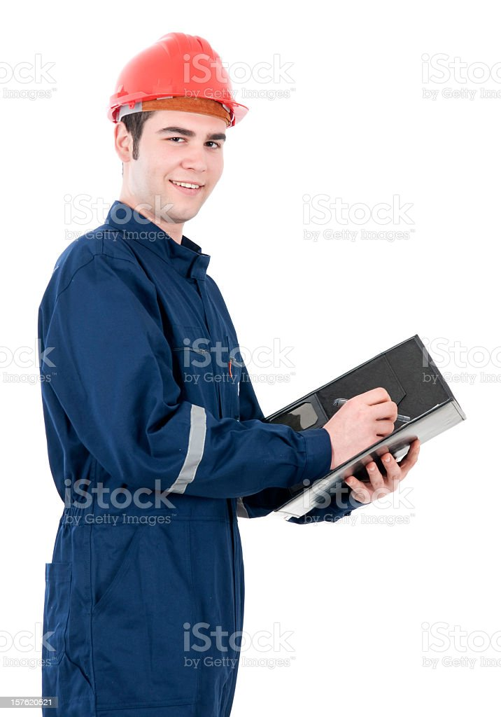 young worker on white background royalty-free stock photo