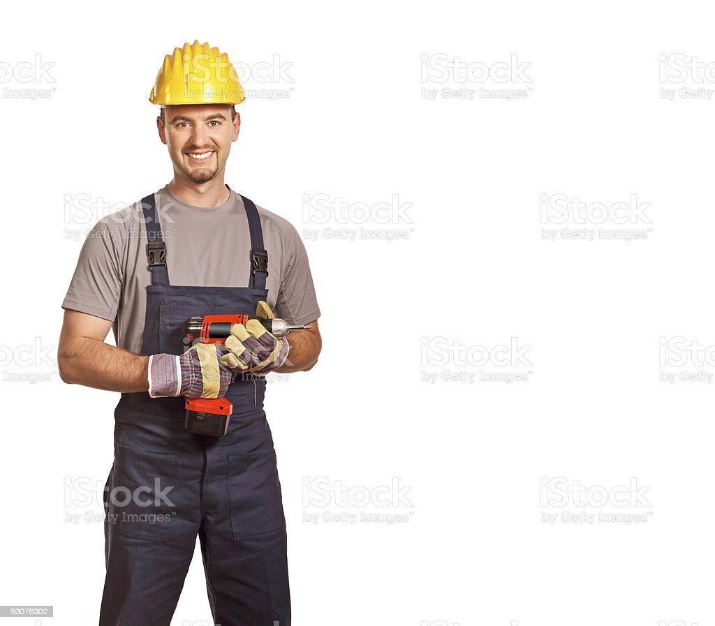 young worker with drill royalty-free stock photo