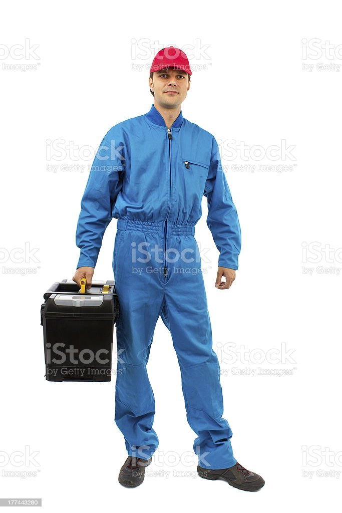 young worker with toolbox isolated on white royalty-free stock photo