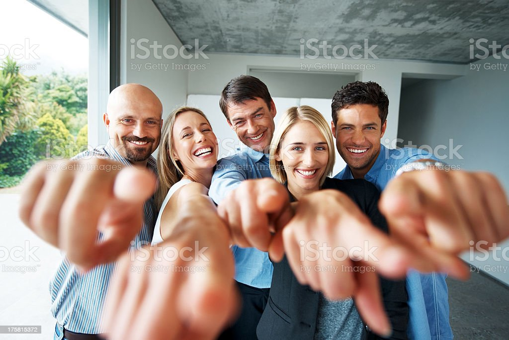 Young working group chosen you to join their business stock photo