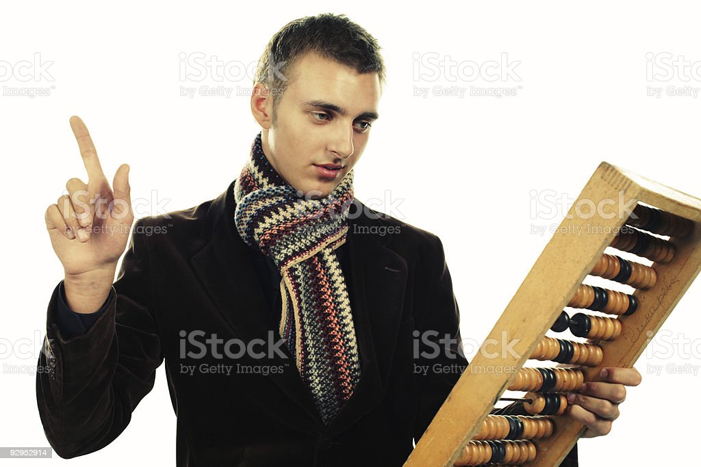 young working man with abacus royalty-free stock photo