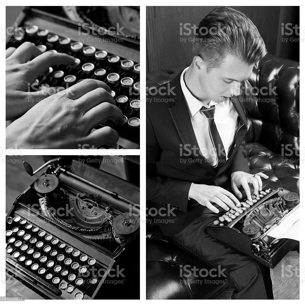 Young writer prints on retro typewriter, monochrome stock photo