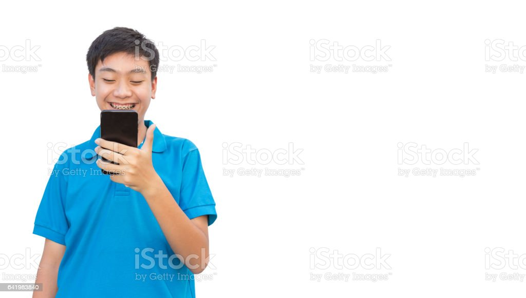 Youngman smile and using smartphone on isolated background. stock photo