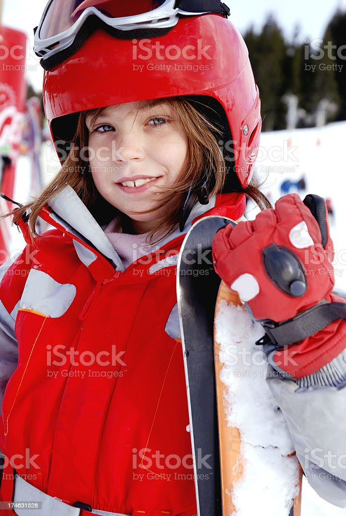 Younk skier stock photo
