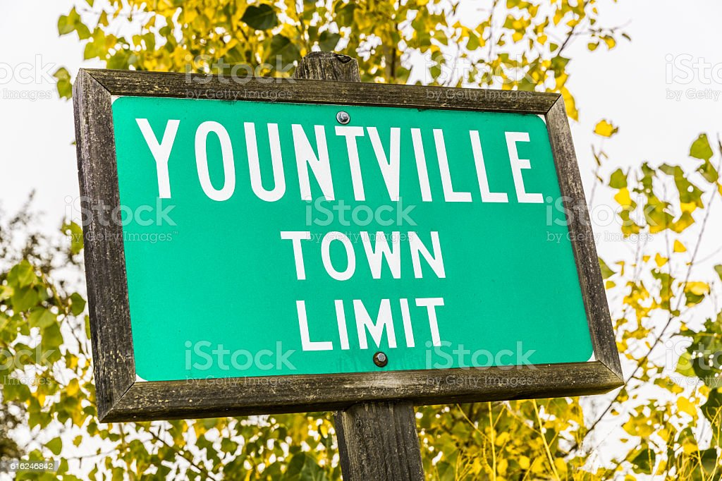 Yountville, California, town sign stock photo