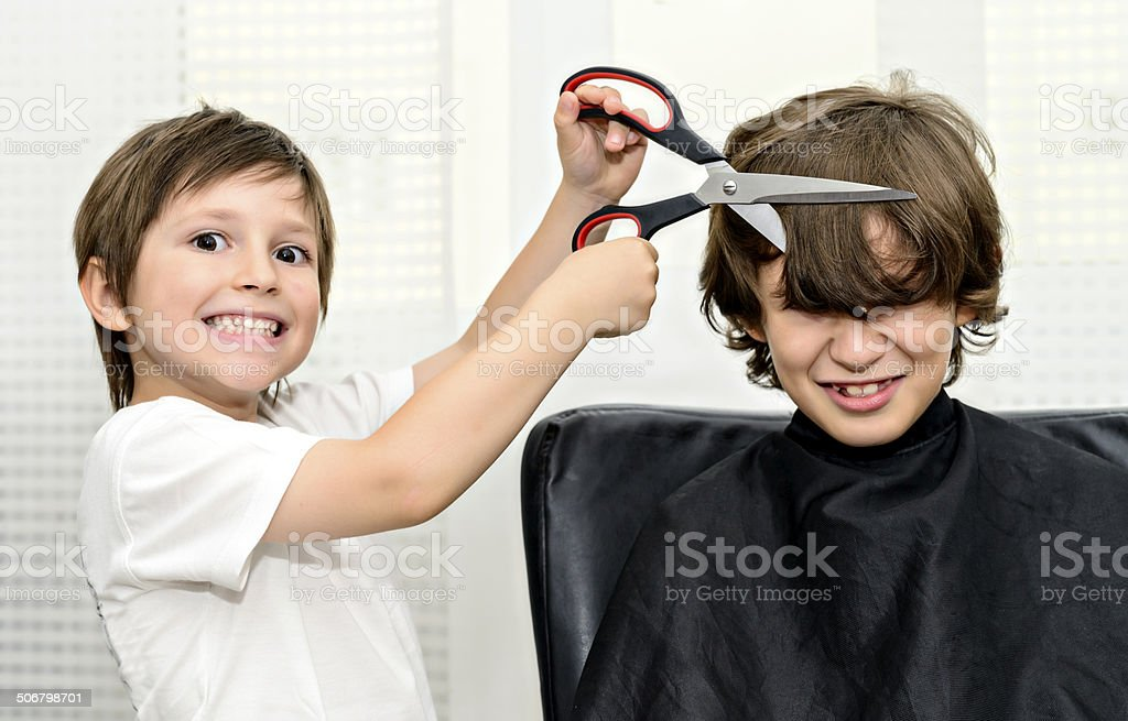 your bangs is out stock photo