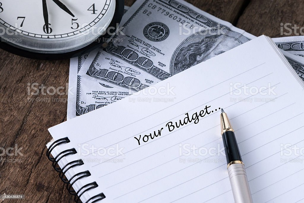 Your Budget With Text Writing-Concept Photo. stock photo