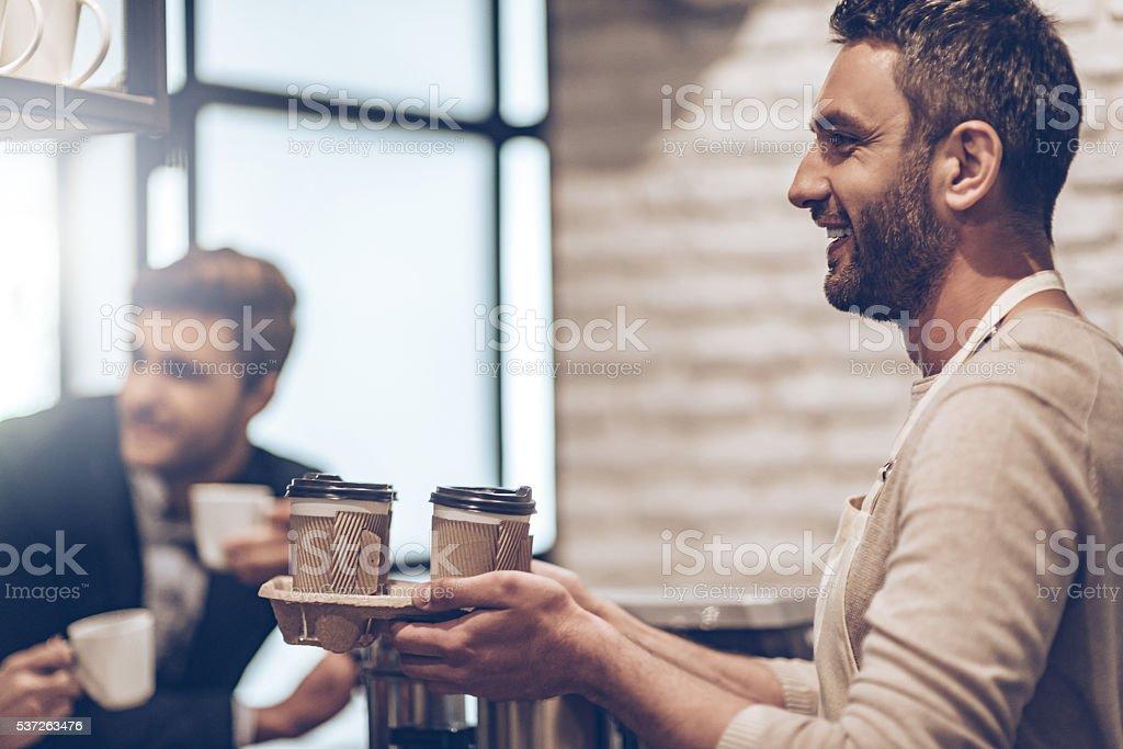 Your coffee to go! stock photo