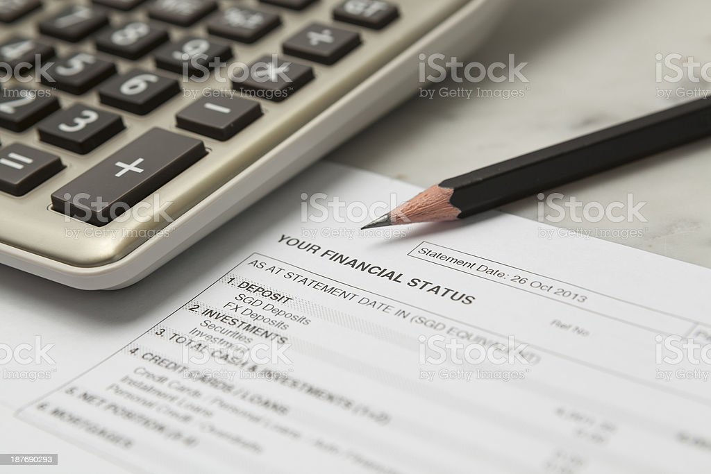 Your financial status till date royalty-free stock photo