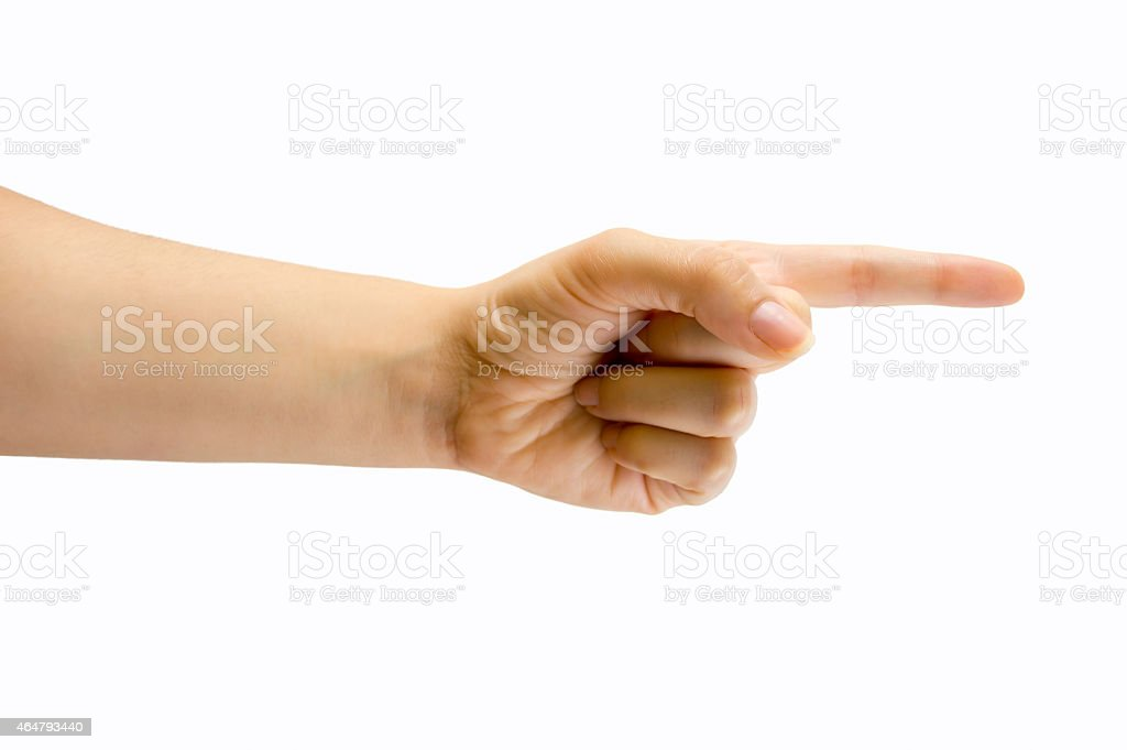 your finger shows us the way stock photo