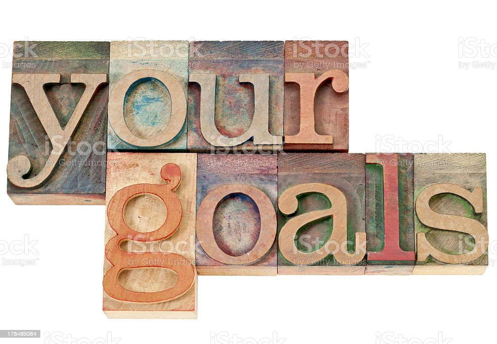 your goals in wood type royalty-free stock photo
