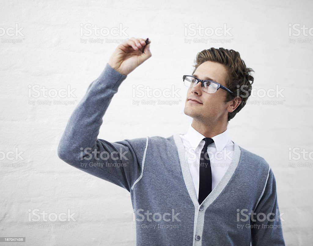 Your message at his fingertips stock photo