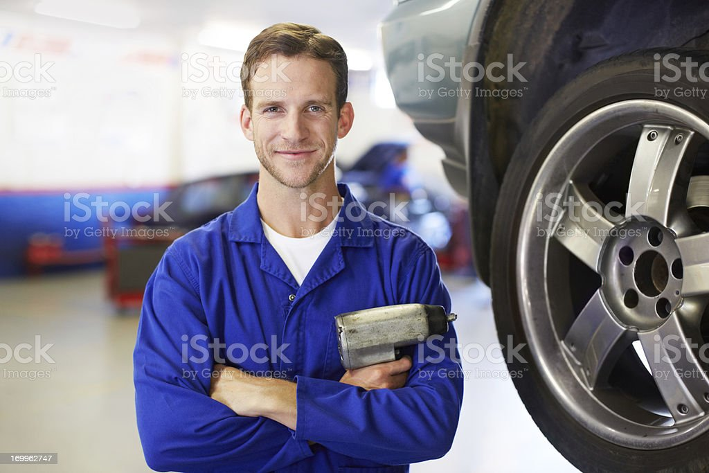Your new set of tyres, sir! stock photo
