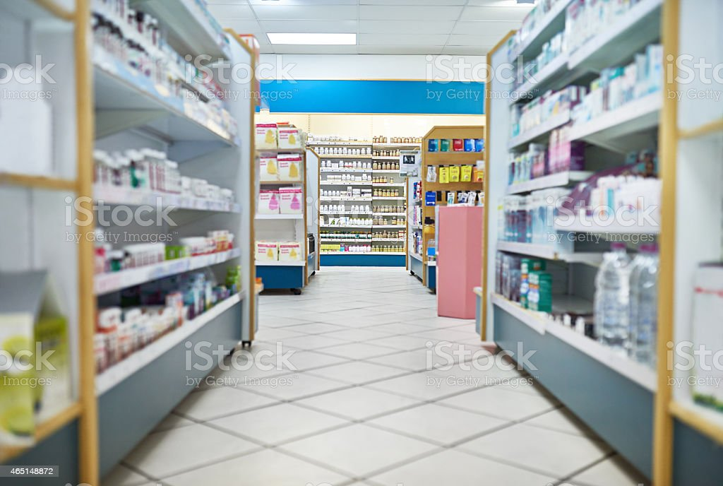 Your one stop pharmaceutical shop stock photo