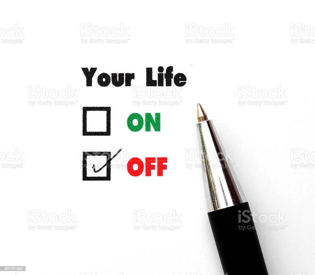 Your select is On or Off, ink print,check Off stock photo