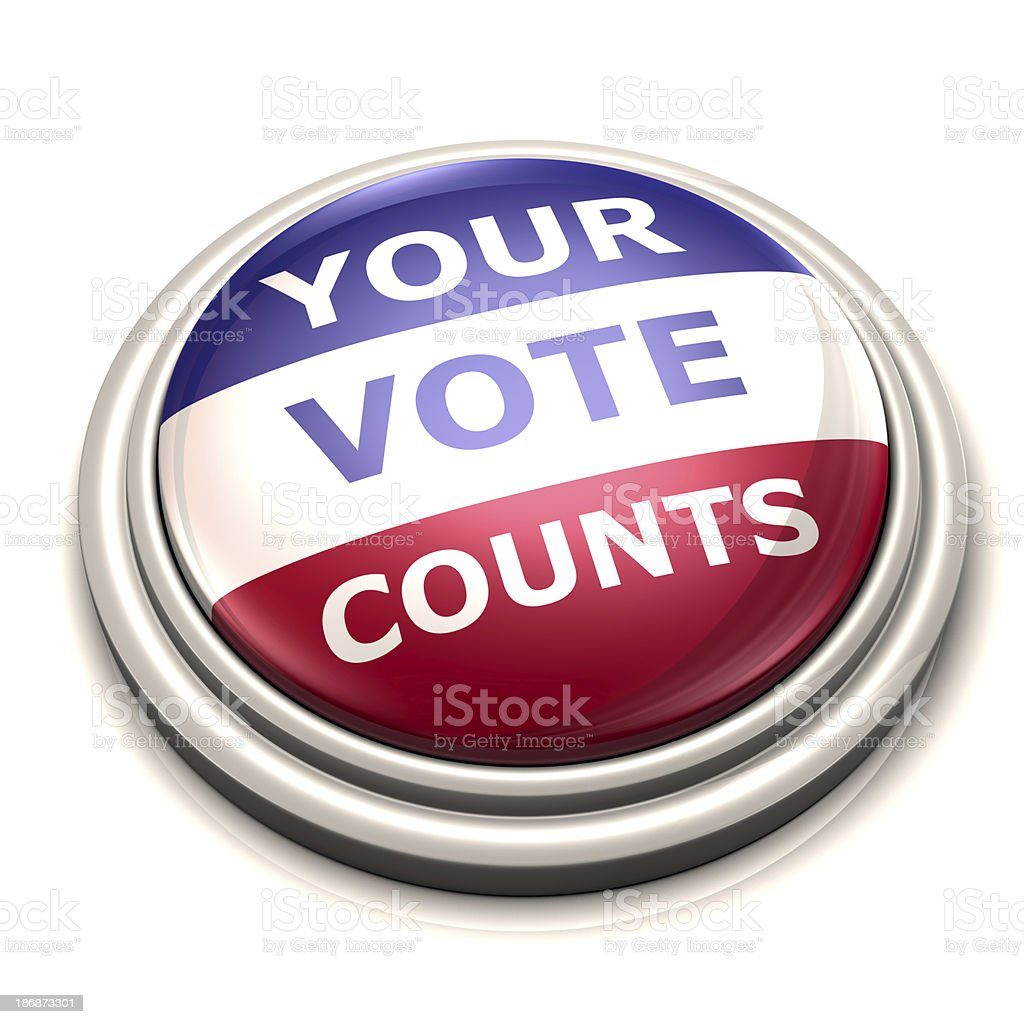 Your Vote Counts Button stock photo