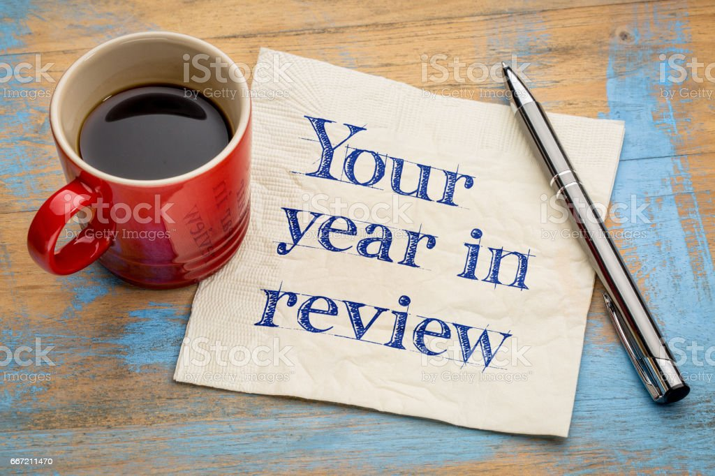 Your year in review napkin concept stock photo