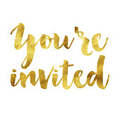 Your'e invited gold foil message