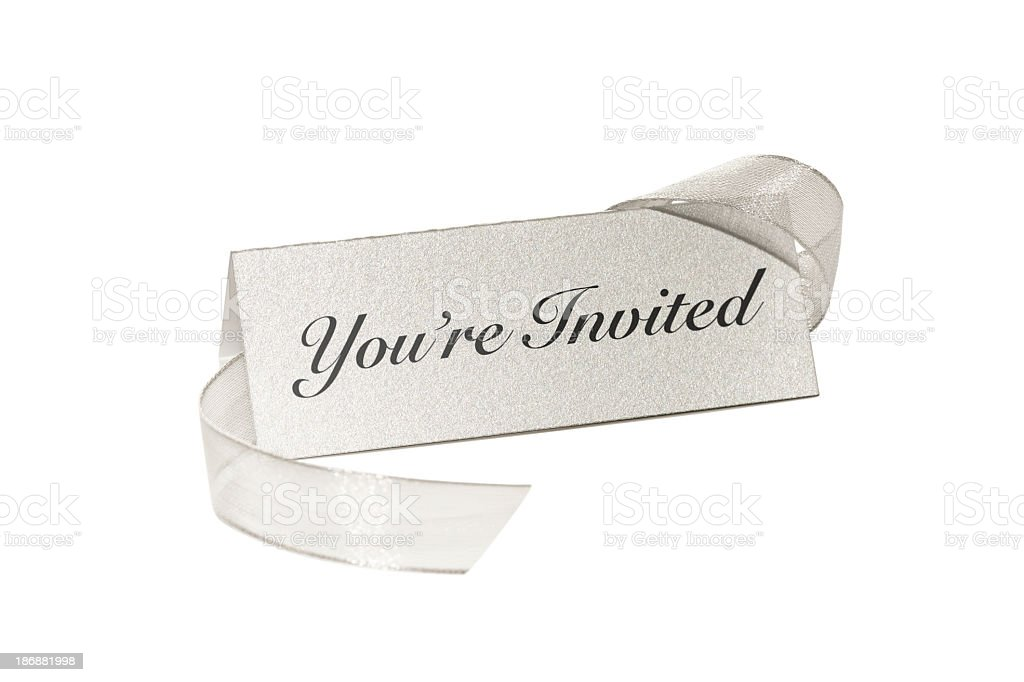 You're Invited silver place card royalty-free stock photo